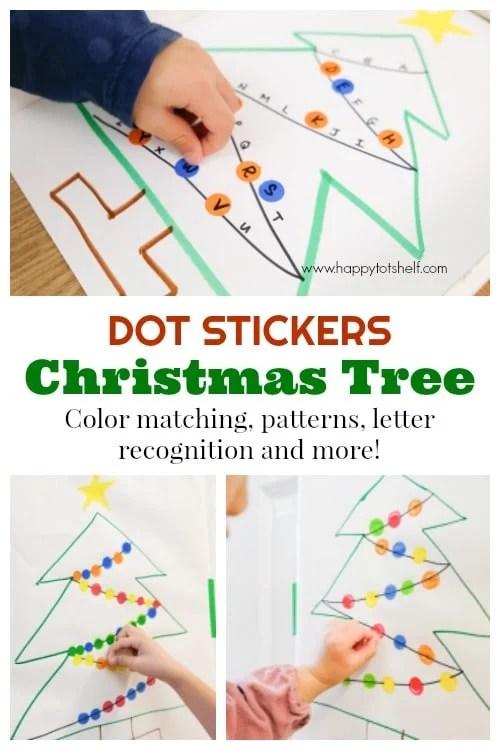 Dot sticker Christmas Tree - Dot Stickers Christmas Lights Learning Activities - Happy Tot Shelf