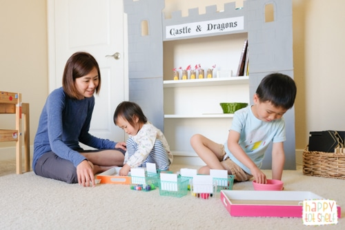 Learning with kids in our preschool homeschool room