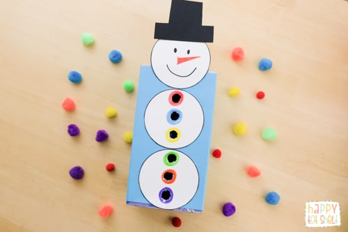 Snowman pompom drop fine motor and color matching DIY learning toy
