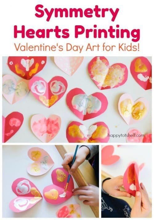 Symmetry Hearts Printing. An easy Valentine's Day art project for children.