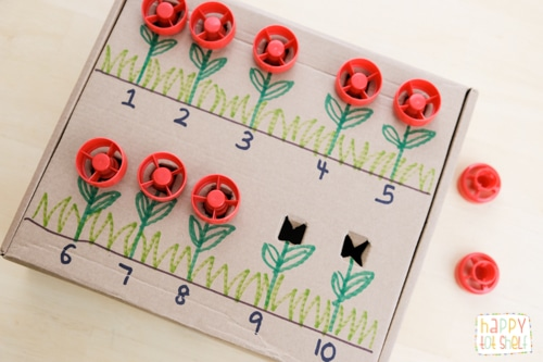 Pouch Cap Flowers Counting DIY Toy to learn  1 to 1 correspondence