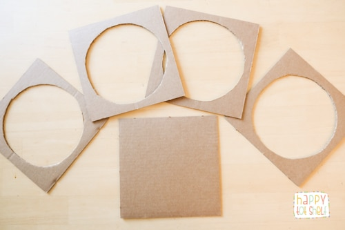 Cut circles out of square cardboards
