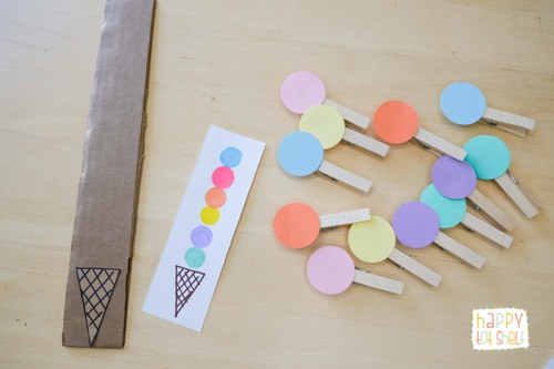 Ice Cream Color matching activity for toddlers and preschoolers - Happy Tot Shelf
