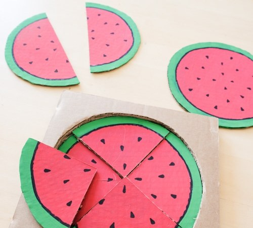 Make this Cute Watermelon Puzzle to Teach Preschoolers Fractions