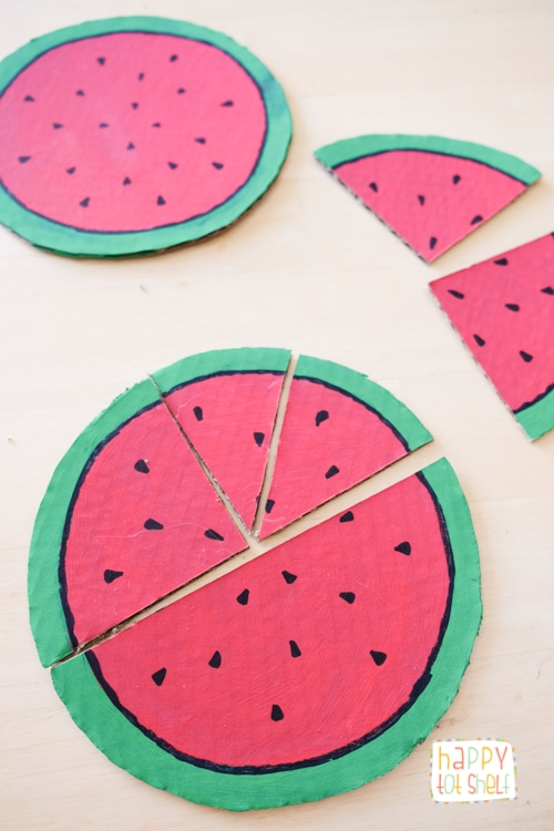 Learn fractions with DIY watermelon puzzle