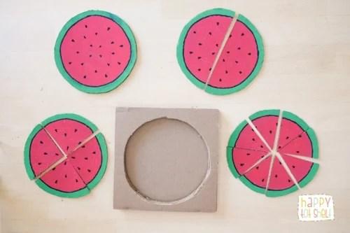 Watermelon cardboard puzzle