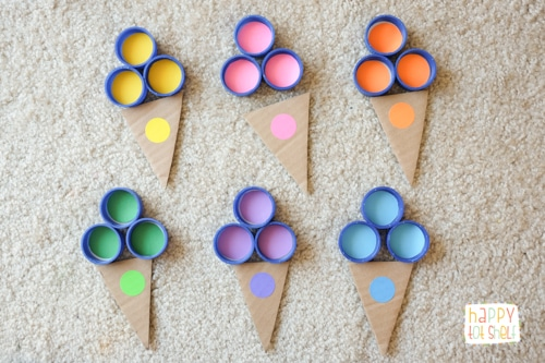 Color sorting with bottle caps ice cream