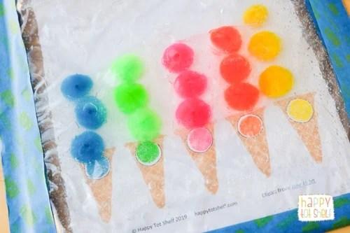 Color matching with Pom Pom ice cream sensory bag