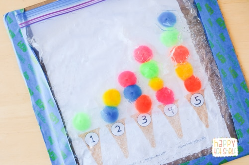 Counting with pompom ice cream sensory bag