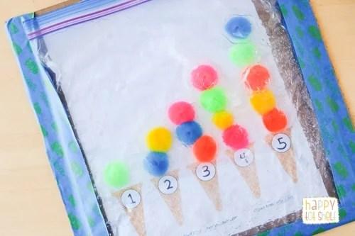 Counting with pompom ice cream sensory bag