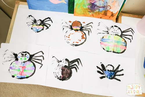 Spider symmetry painting activity for kids