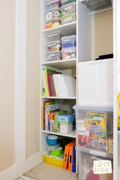 Homeschool room resource cupboard
