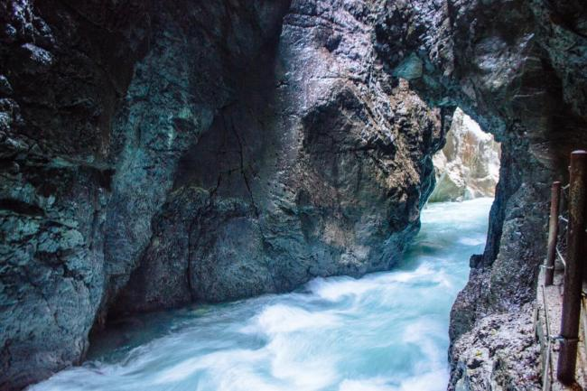 The crazy blue water of Partnachklamm in Garmisch-Partenkirchen