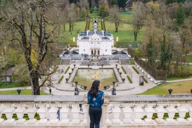 Beautiful view over Linderhof Palace in Bavaria, Germany