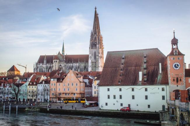 A view of beautiful Regensburg, Germany by the river