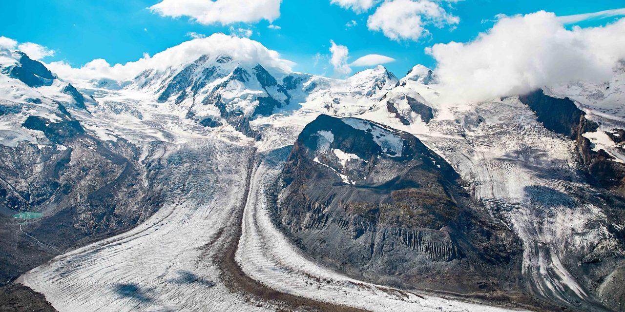 Gornergrat Zermatt, Schweiz. Landschaft der schneebedeckten Berge, Schweizer Alpen
