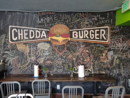 Chedda Burger chalk wall.