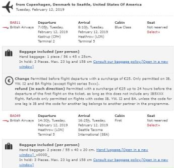 Booking Confirmation First Class with Iberia 90,000 Avios Promotion