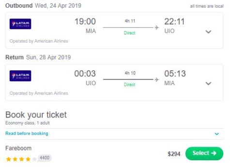 SkyScanner Screenshot South America Deal