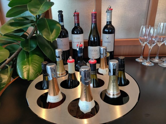 Cathay Pacific First Class Lounge Wine and Champagne