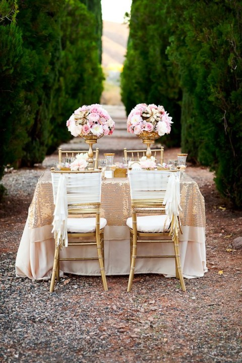 Amazing Golden Accented Decorations On Wedding Table