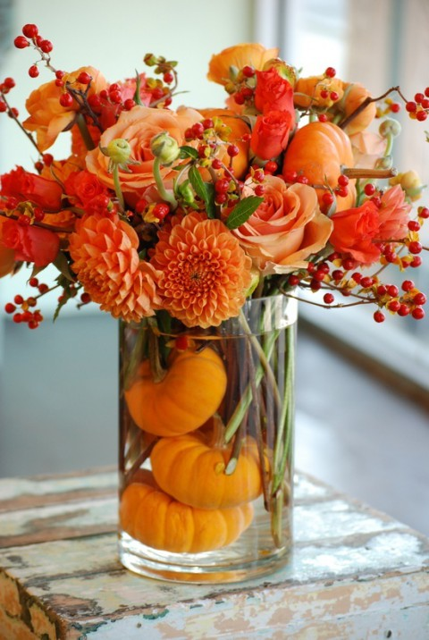 Pumpkin Themed Wedding with Pumpkin Wedding Centerpiece and Orange Flowers