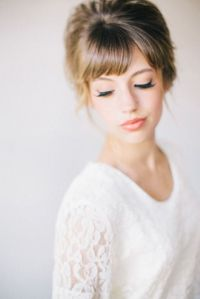 36 Pretty Bridal Hairstyle Ideas With Bangs | HappyWedd.com