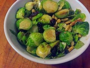 Roasted Brussels Sprouts with Pine Nuts and Berries