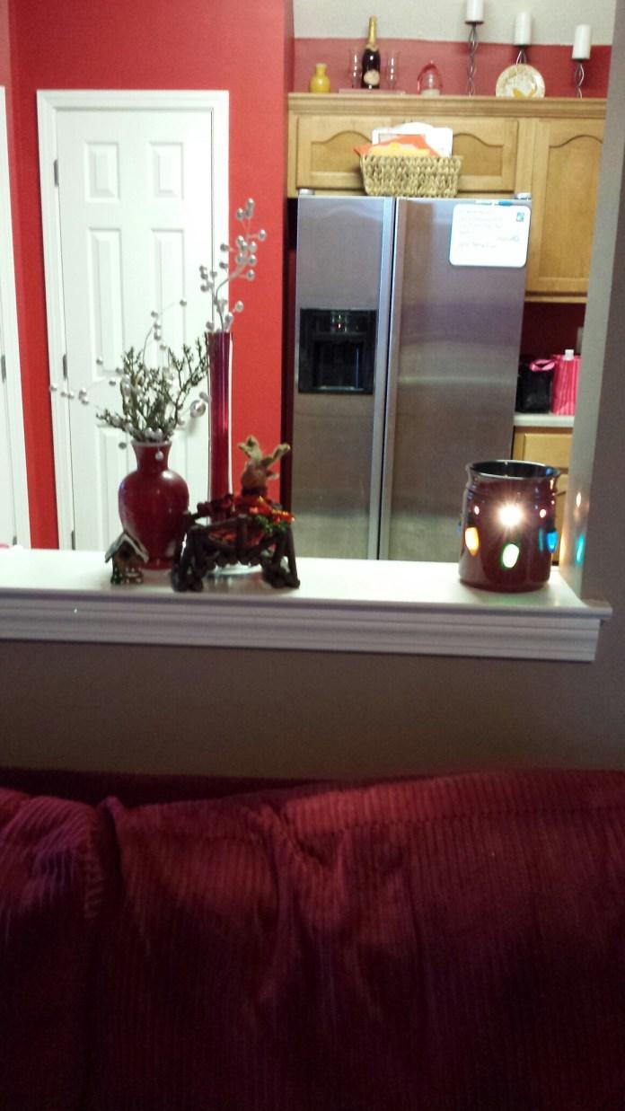 Random Christmas cheer and my Christmas light Scentsy warmer.