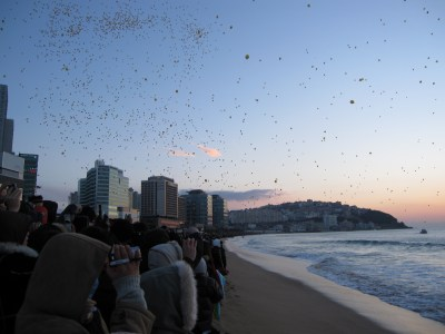 Haeundae Beach. Balloons in the Sky for New Year's Sunrise.
