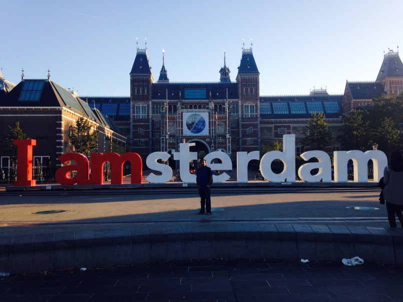 In Museumplein with three major museums, Rijksmuseum, Van-Gogh museum, and Stedelijk Museum.