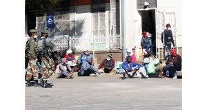 People who have been arrested for violating lockdown regulations seen at Bulawayo Central Police Station yesterday