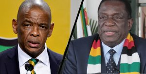 ANC Secretary-General Ace Magashule, left, and President Emmerson Mnangagwa.
