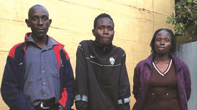Mr Edward Musekiwa(left) brother to the deceased, Tinotenda Musekiwa in clutches (son to the deceased) who sustained a fractured leg during the attack and the now deceased's widow