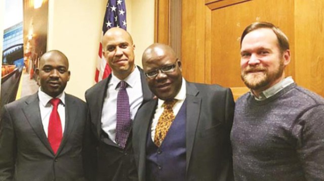 (file) Nelson Chamisa (left) and Tendai Biti, seen here with US Congressmen genuinely believe they have the keys to billions of dollars from the West