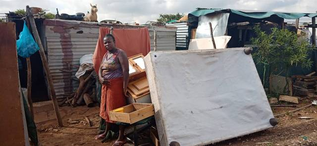 Eustina Mutukwa's husband wants his R6000 lobola back, community leaders took out his furniture since he was pestering her. Photo by Karabo Rammutla.