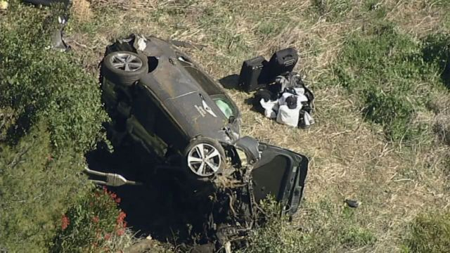 KABC Aerial footage the rollover crash involving Tiger Woods, Feb. 23, 2021, in Los Angeles.