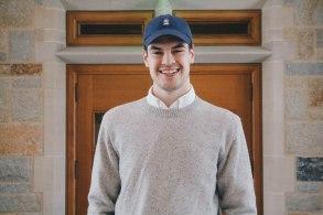 Classic Cap in Navy, J. Crew sweater