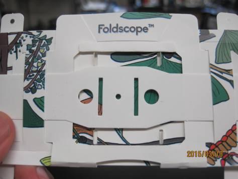 Close-up of Foldscope.