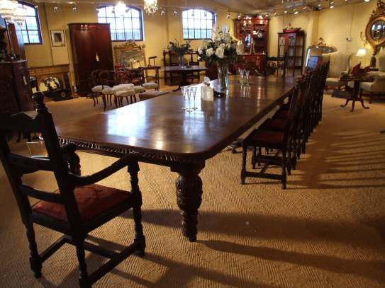 Victorian Oak Extending Dining Table To Seat 20 People