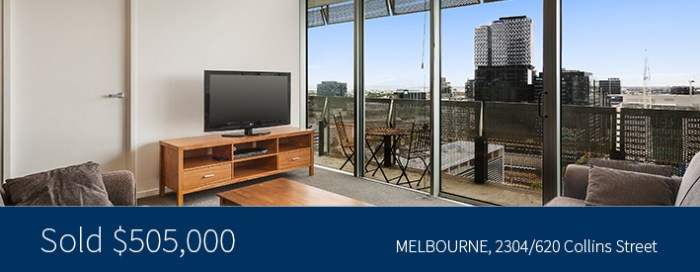 2304/620 Collins Street, Melbourne - Sold for $505,000