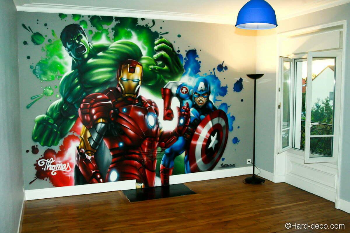 Fresque Marvel Avengers Réalisée Dans La Chambre De Thomas