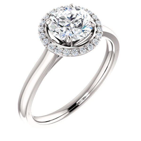 Round Halo-Style Engagement Ring