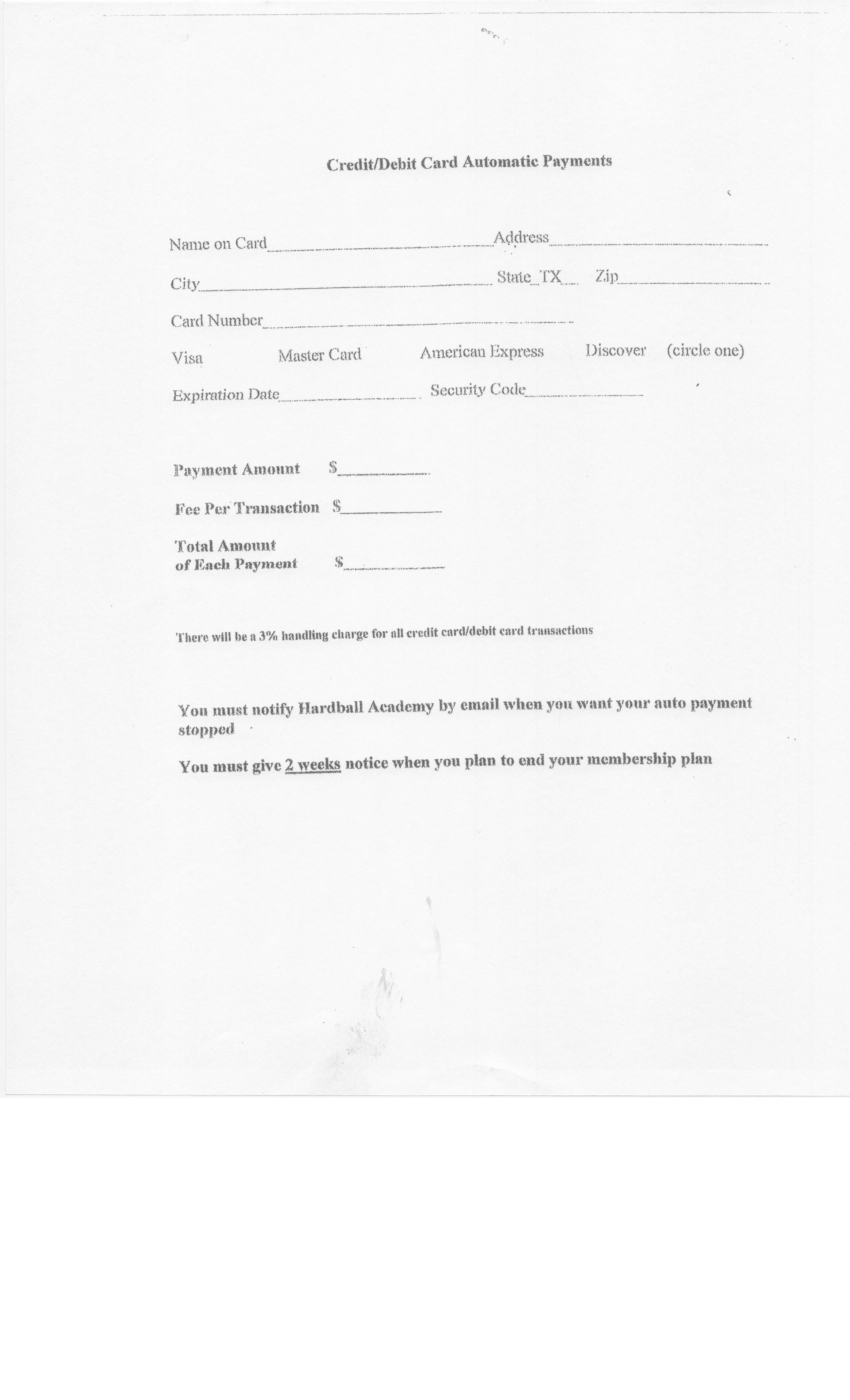 Auto Payment Forms Ach Amp Debit Cc