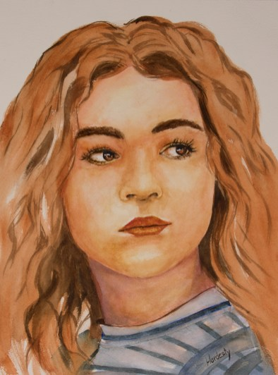 Portrait, by David Hardesty, watercolor, 15 x 11