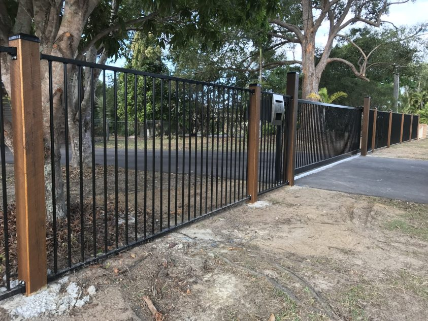 Black Flat Top Aluminium Fence and Gate