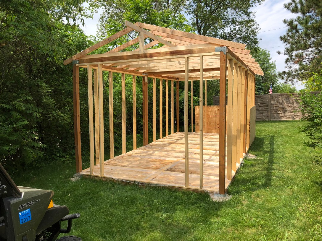 to wrap things up i did some final framing work on both ends of the shed and i also ran underground electrical wiring from the guest house to the shed  [ 1088 x 816 Pixel ]