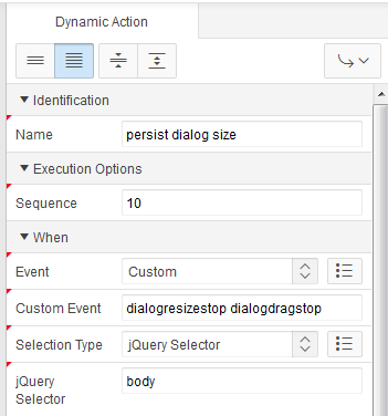 How to persist APEX dialog size and position