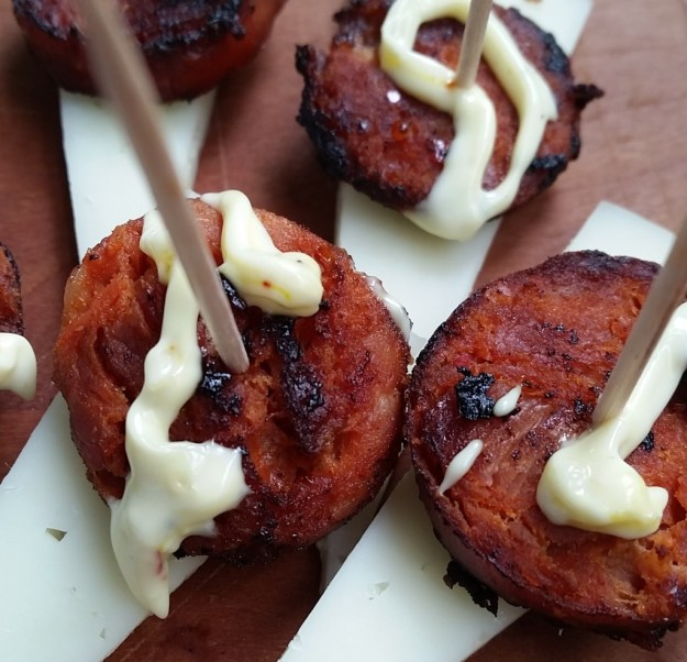 manchego and chorizo with saffron aioli
