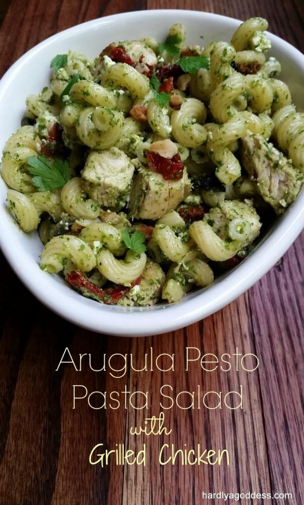 Arugula Pesto Pasta Salad | Hardly A Goddess